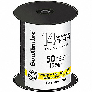 50 ft. Stranded Building Wire with THHN Wire Type and 14 AWG Wire Size, Black