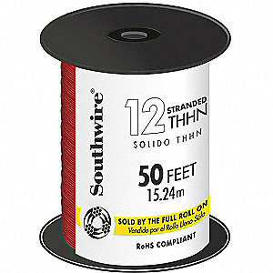 50 ft. Stranded Building Wire with THHN Wire Type and 12 AWG Wire Size, Red