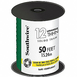 Stranded THHN Building Wire, Green, 50 ft. 12 AWG