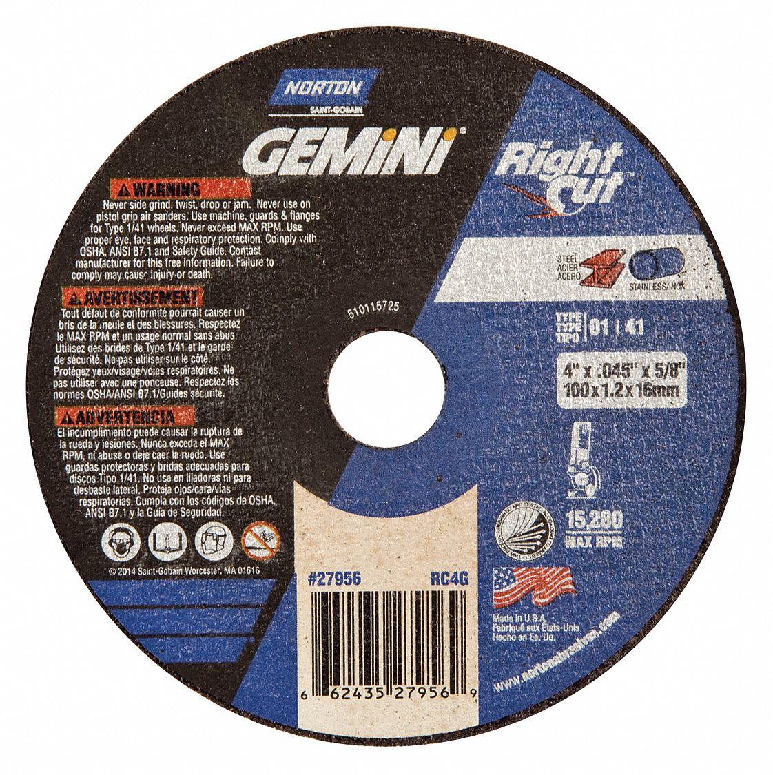 """10 pc Cut off 4/"""" 1//16x3//8 hole Cutoff Wheels qty 10 Norton Gemini"""