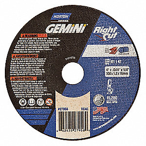 "4-1/2"" Type 1 Aluminum Oxide Abrasive Cut-Off Wheel, 7/8"" Arbor, 0.045""-Thick, 13,580 Max. RPM"