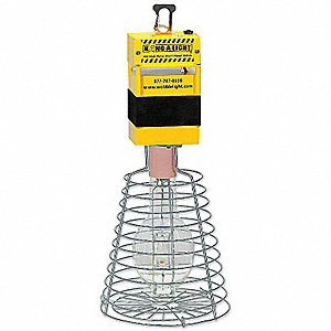 400W Metal Halide Temporary Hanging Light, Yellow, 120VAC