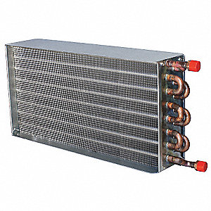 "Hot Water Heating Coil, 375 cfm, 0.9 gpm, Slip and Drive, Casing Length 12-3/8"", Casing Depth 6"""