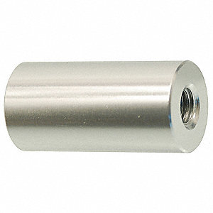 "1"" Aluminum Round Standoff with Clear Anodized US28 Finish, Silver; PK2"
