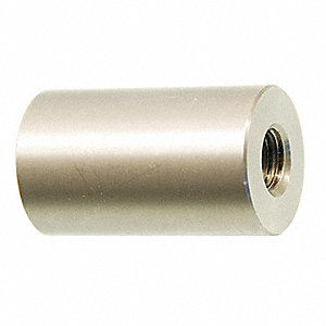 "4"" 18-8 Stainless Steel Round Standoff with Satin US32D Finish, Silver; PK2"