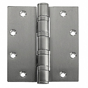 "4"" x 1-3/4"" Butt Hinge with Satin Stainless Steel Finish, Full Mortise Mounting, Square Corners"