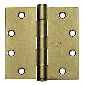 "4-1/2"" x 1-5/8"" Butt Hinge with Bright Brass Finish, Full Mortise Mounting, Square Corners"
