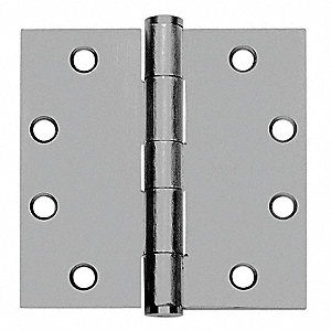 "4-1/2"" x 2"" Butt Hinge with Satin Chrome Finish, Full Mortise Mounting, Square Corners"