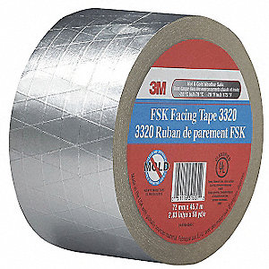 FSK Facing Tape,3 In. x 50 Yd.,Silver