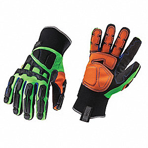 Anti-Vibration Gloves, Synthetic Leather Palm Material, Lime/Black/Orange, L, PR 1