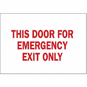 Emergency Exit Sign,7 x 10In,R/WHT,ENG