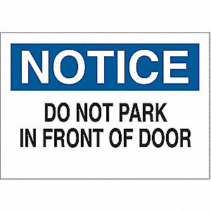 "Parking Sign,10""H,14""W,Plastic"