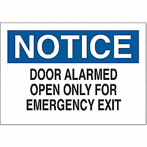 Fire Door Sign,7 x 10In,BK and BL/WHT
