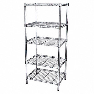 "48"" x 18"" x 74"" Steel Wire Shelving Unit, Silver&#x3b; Number of Shelves: 5"