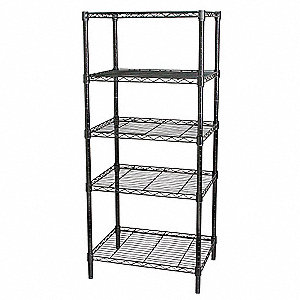 "48"" x 18"" x 74"" Steel Wire Shelving Unit, Black&#x3b; Number of Shelves: 5"