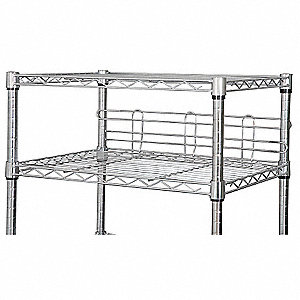 "24"" x 6"" Steel Shelf Side/Back Ledge, Silver&#x3b; PK2"