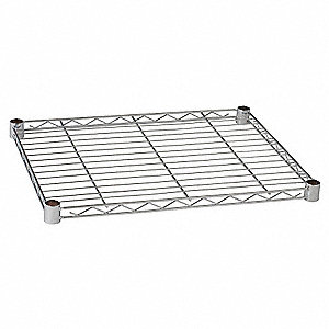 "60""W x 24""D Wire Shelf, Stainless Steel Finish, 600 lb. Shelf Capacity, Silver"