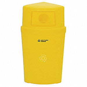 21 gal. Yellow Stationary Recycling Container, Dome Top