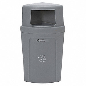 21 gal. Gray Stationary Recycling Container, Dome Top