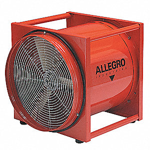 Axial Confined Space Fan, 2 HP, 115VAC Voltage, 3450 rpm Blower/Fan Speed