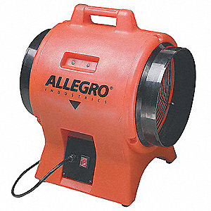 Axial Confined Space Fan, 1 HP, 115VAC Voltage, 3425 rpm Blower/Fan Speed