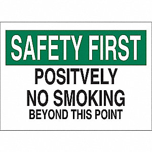 No Smoking Sign,10 x 14In,GRN and BK/WHT
