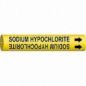 Pipe Marker, Sodium Hypochlorite, Yellow