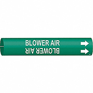 Pipe Marker,Blower Air,Gn,3/4 to1-3/8 In