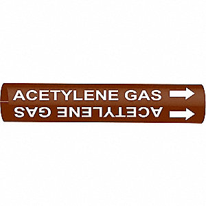 Pipe Marker, AcetYene Gas, Brown, 10to15 In