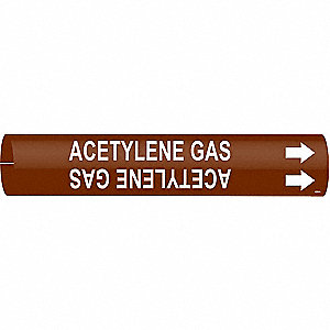Pipe Marker,Acetlyene Gas,3/4 to1-3/8 In