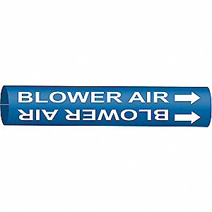 Pipe Marker, Blower Air, Blue, 10 to 15 In