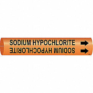 Pipe Marker, Sodium Hypochlorite, Orange