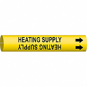 Pipe Mrkr,Heating Supply,2-1/2to3-7/8 In