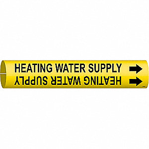 Pipe Marker,Heating Water Supply,4to6 In