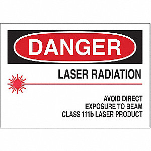 Danger Laser Sign,7 x 10In,R and BK/YEL