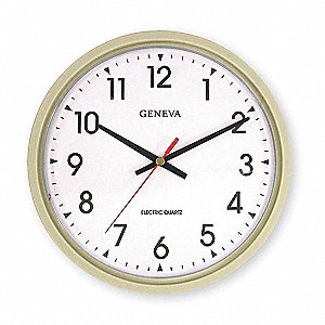 Analog Clock,Electric,14 In,Putty