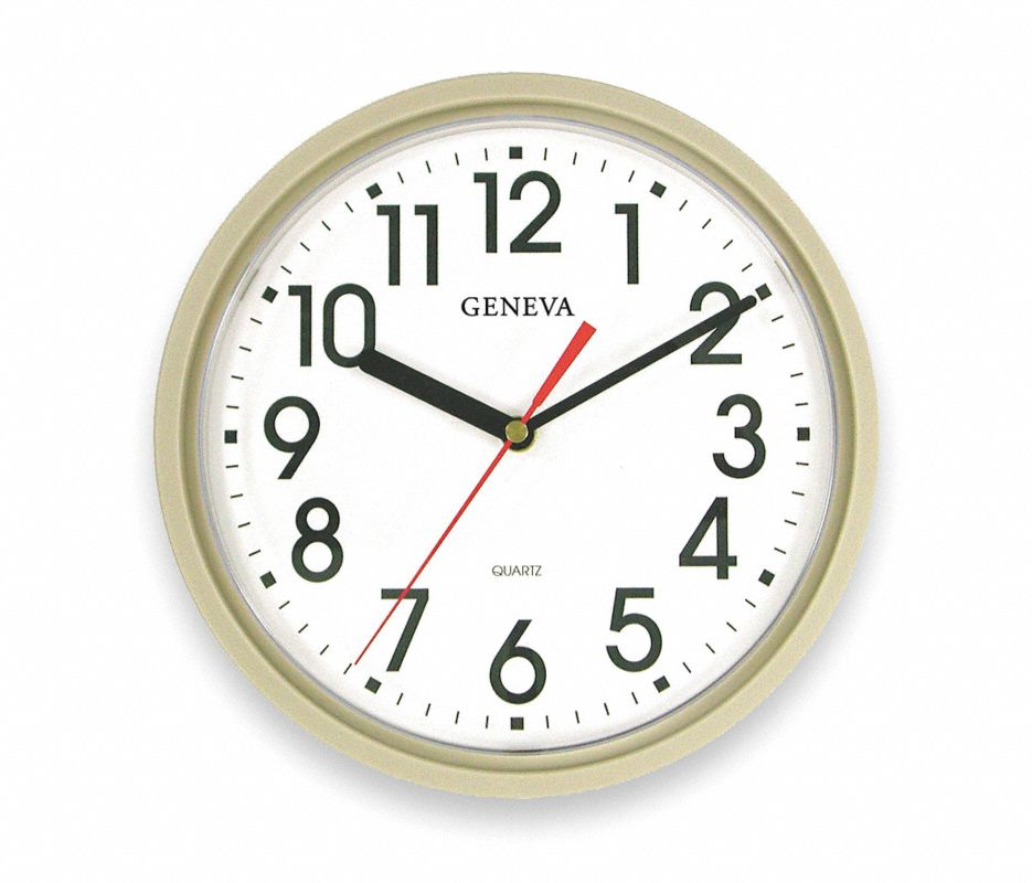 Analog Clock,9-1/2 In,Putty