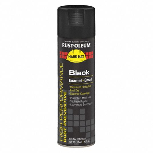 High Performance Rust Preventative Spray Paint in High Gloss Black for Metal, Steel, 15 oz