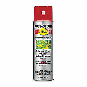 Safety Red Inverted Striping Paint, Water Base Type, 15 oz.