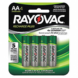 AA Pre-Charged Rechargeable Battery, Recharge, Nickel-Metal Hydride, PK4