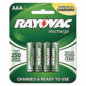 AAA Pre-Charged Rechargeable Battery, Recharge, Nickel-Metal Hydride, PK4