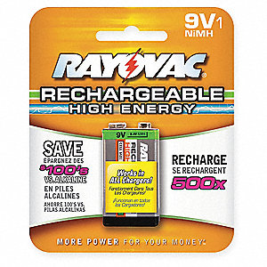 9V Pre-Charged Rechargeable Battery, High Energy, Nickel-Metal Hydride, PK1