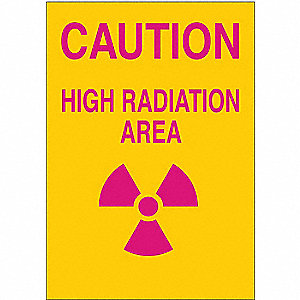 "Radiation and X-Ray, Caution, Aluminum, 14"" x 10"", With Mounting Holes, Not Retroreflective"
