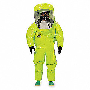 Level A Rear-Entry Encapsulated Suit, Lime Yellow, XL, Tychem® 10000 Material