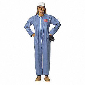 Tempro®, Flame-Resistant Coverall, Size: 4XL, Color Family: Blues, Closure Type: Zipper