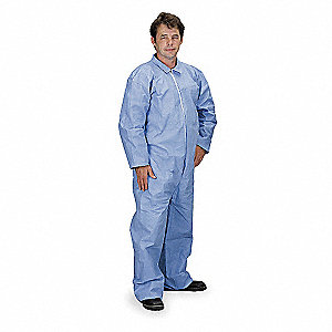Tempro®, Flame-Resistant Coverall, Size: 2XL, Color Family: Blues, Closure Type: Zipper