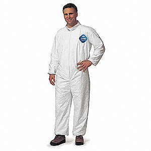 Collared Disposable Coveralls with Elastic Cuff, White, XL, Tyvek®