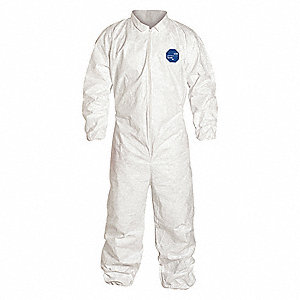 Collared Coverall,Elastic,White,2XL,PK25