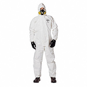 Hooded Chemical Resistant Coveralls with Elastic Cuff, White, M, Tychem® SL