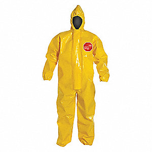Hooded Chemical Resistant Coveralls with Elastic Cuff, Tychem® 9000 Material, Yellow, 6XL